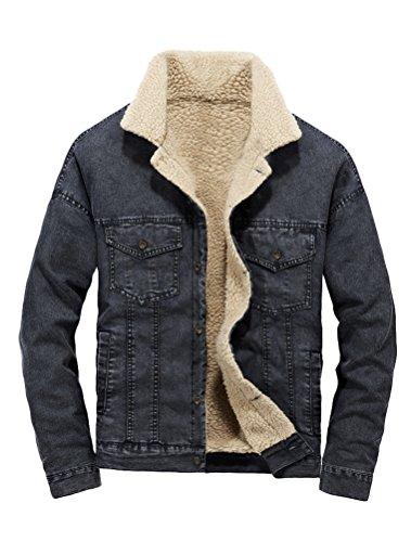 Lavnis Men's Casual Denim Jacket Winter Slim Fit Button Down Jeans Coat Black L -