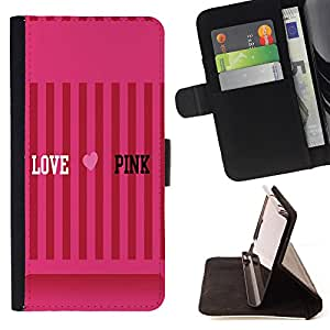 King Air - Premium PU Leather Wallet Case with Card Slots, Cash Compartment and Detachable Wrist Strap FOR LG Optimus G2 D800 D801 D802 D803 VS980 F320- Love Pink Heart