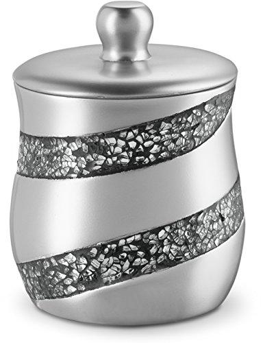 - DWELLZA Silver Mosaic Q Tip Holder (3.8 x 3.8 4.9