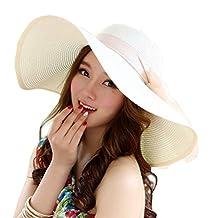 Women Ribbon Derby Hat Floppy Wide Brim Hat Large Beach Hat UV Sun Hat