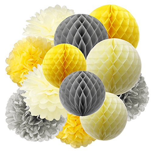 Furuix Tissue Paper Pom Pom Yellow Grey Cream Tissue Paper Honeycomb Balls Paper Lanterns for Bridal Shower Birthday Decorations /Wedding Party Decor You Are My Sunshine Baby Shower Decorations (Yellow Decorations)
