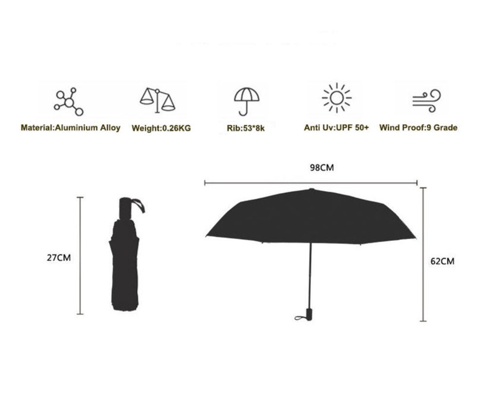Fine Art 3 Folding Parasol Sun Protection Anti-UV Umbrella for Women by TANDS (Image #7)