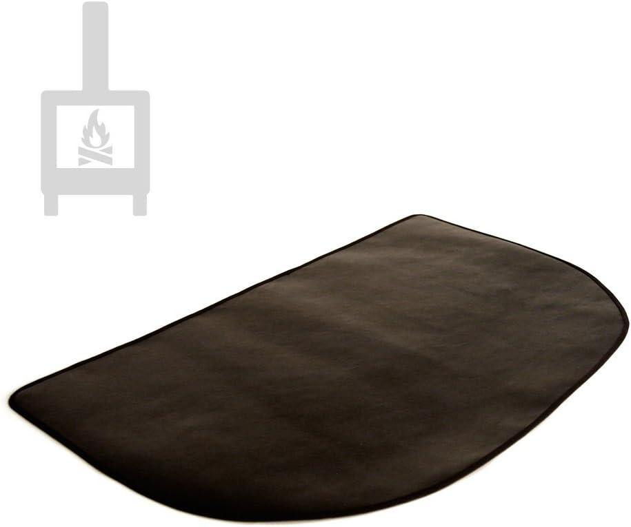 TEXFIRE Alfombra ignífuga semicircular protectora de suelo para estufa y chimenea (80x50cm)