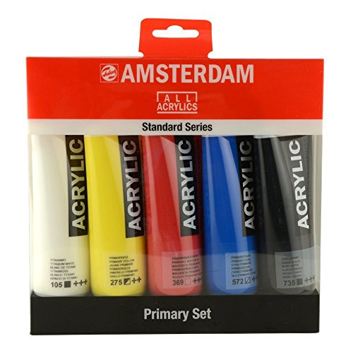 Amsterdam Acrylic Paint - Royal Talens Amsterdam Standard Series Acrylic Color, 120ml Tubes, Set of 5 Primary Colors (17790905) Multicolor