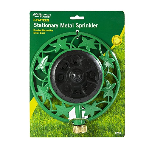 Aqua Plumb Stationary Metal Sprinkler - 8 Pattern with Durable Decorative Metal Base