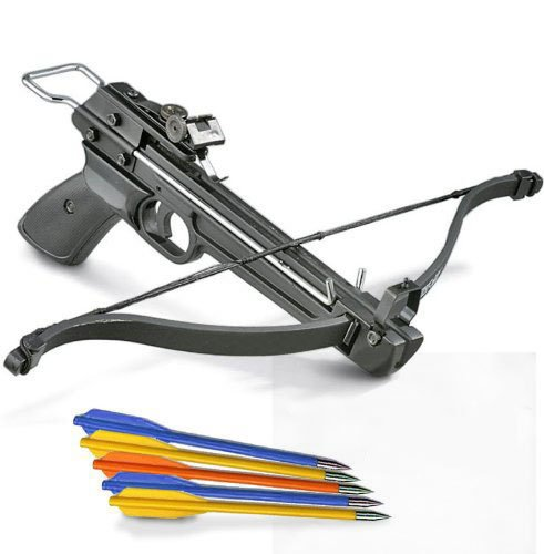 Snake Eye Tactical Mini Crossbow Pistol Hand Held Archery Hunting Cross Bow with Arrows (50LBS FPS) (Mini Handheld Crossbow)