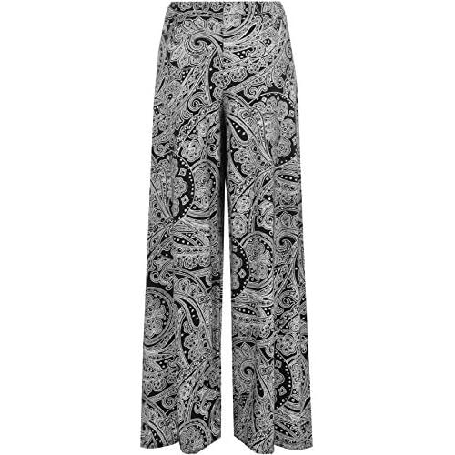 3b734664e8a3c1 50%OFF WearAll Women's Paisley Print Long Wide Leg Flared Palazzo Pants  Trousers