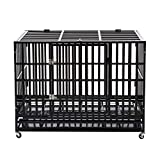 PANEY 48' Large Heavy Duty Metal Rolling Dog Crate Cage Pet Kennel Playpen Exercise w/Wheels Tray Square Tube
