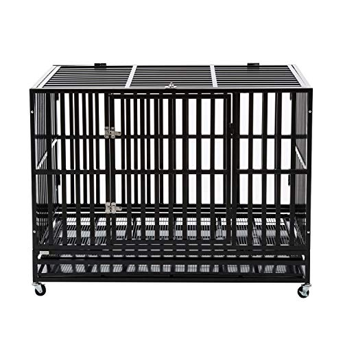 """PANEY 48"""" Large Heavy Duty Metal Rolling Dog Crate Cage Pet Kennel Playpen Exercise w/Wheels Tray Square Tube"""