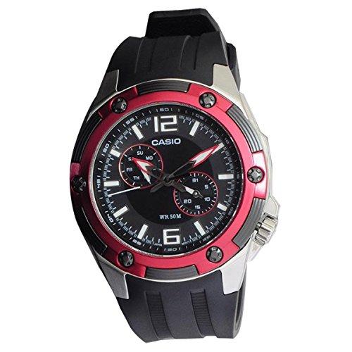 Casio Men s MTP1326-1A2V Black Resin Quartz Watch with Black Dial