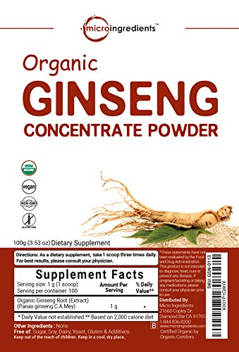 Maximum Strength Organic Ginseng Root 200:1 Powder, 4 Ounce, Support Energy, Immune, Mental Health & Physical Performance, Non-Irradiated, Non-Pesticide, Non-GMO and Vegan Friendly by Micro Ingredients (Image #4)