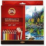 Lápis de Cor Koh-I-Noor Aquarelável Mondeluz 72 Cores + 3 Pinceis + 2 Apontadores Caixa Cartonada
