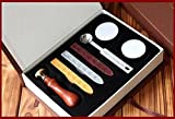 WEIYI Vintage Seal Stamp Sticks Melting Spoons Candles Set Badge Pattern - 1 set