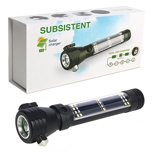 SUBSISTENT Brightest Best LED Tactical Flashlights Set Water Resistant : 2000 Bright Lumen Flashlight & Mini 1000 Lumen Flashlight,Solar Powered & USB Rechargeable,Perfect Indoor & Outdoor, Camping by SUBSISTENT