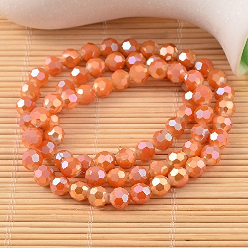 NBEADS 1 Strand Faceted Round Electroplate Rainbow Plated Coral Glass Beads Strands With 8mm,Hole: 1mm,About 72pcs/strand ()