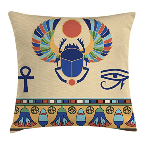 Ambesonne Egyptian Throw Pillow Cushion Cover, Ancient Antique Historical Culture Icon of Scarab Eye with Ornaments Print, Decorative Square Accent Pillow Case, 24 X 24 Inches, Multicolor