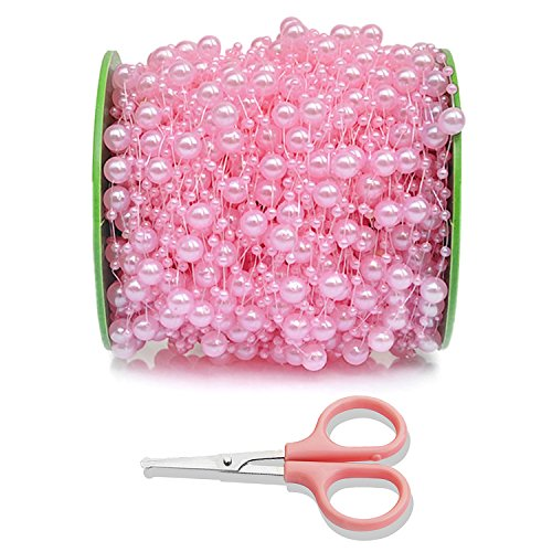 ❤️ DomeShine 200 Feet Baby Breath Beads Pearl String Garland with Scissors, Pink Pearl (Pink Bead Garland)