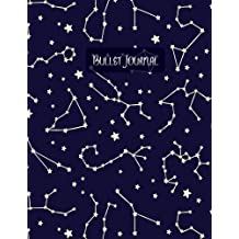 Bullet journal: quarterly planner with blank yearly & monthly calendar, and habit tracker, 120 dot grid & 15 lined pages, 8.5x11in, star constellation: Professional design large diary journal to write in everyday life