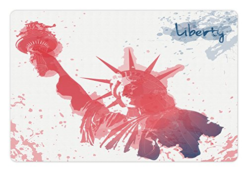 Ambesonne 4th of July Pet Mat for Food and Water, Watercolor Lady Liberty Silhouette with Paint Splashes Independence, Rectangle Non-Slip Rubber Mat for Dogs and Cats, Dark Coral Pale - Silhouette Liberty Lady