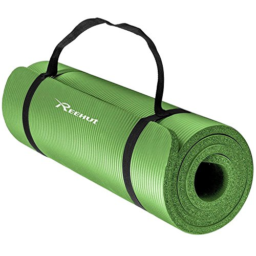 Reehut 1/2-Inch Extra Thick High Density NBR Exercise Yoga Mat for Pilates, Fitness & Workout w/ Carrying Strap (Green) - Green Thick Mat