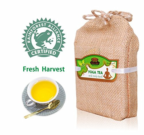 'YOGA' Green Tea Leaves (100 CUPS), Stress Relief Tea, Perfect Energy Tea, Weight Loss Tea, Kombucha Tea, Blended with Real Holy Basil, Real Cinnamon & Real Ginger. Fresh Harvest, 3.5 (Perfect Cup Blended Tea)