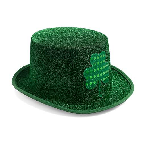 St. Patricks Day Hat Green Shamrock Leprechaun Irish Party Velvet Top Hat for Men & Women