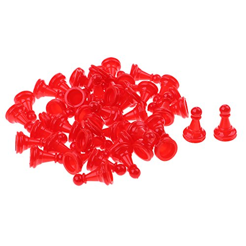 Fenteer 約50個 プラスチック チェスピース チェスゲームアクセサリー 全4色 - 赤