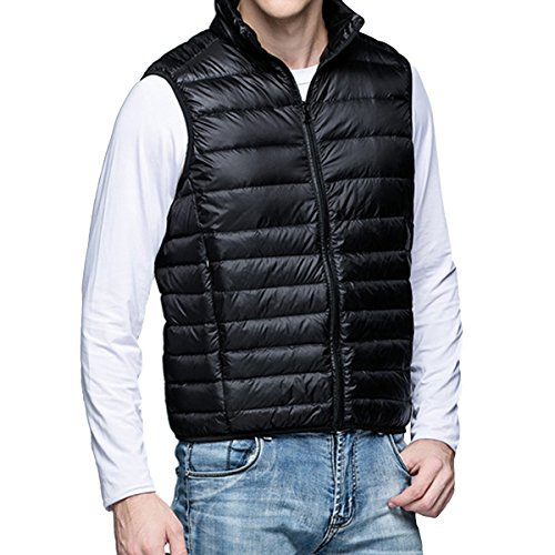 Pishon Men's Puffer Packable Compressible Ultra Lightweight Winter Ourdoor Down Vest Jacket, Black, Tag Size XL=US Size M