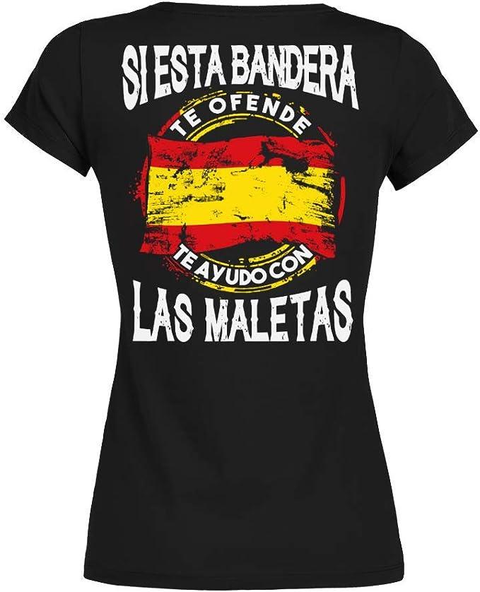 TEEZILY Camiseta Mujer Si Esta Bandera te ofende te ayudo con Las ...