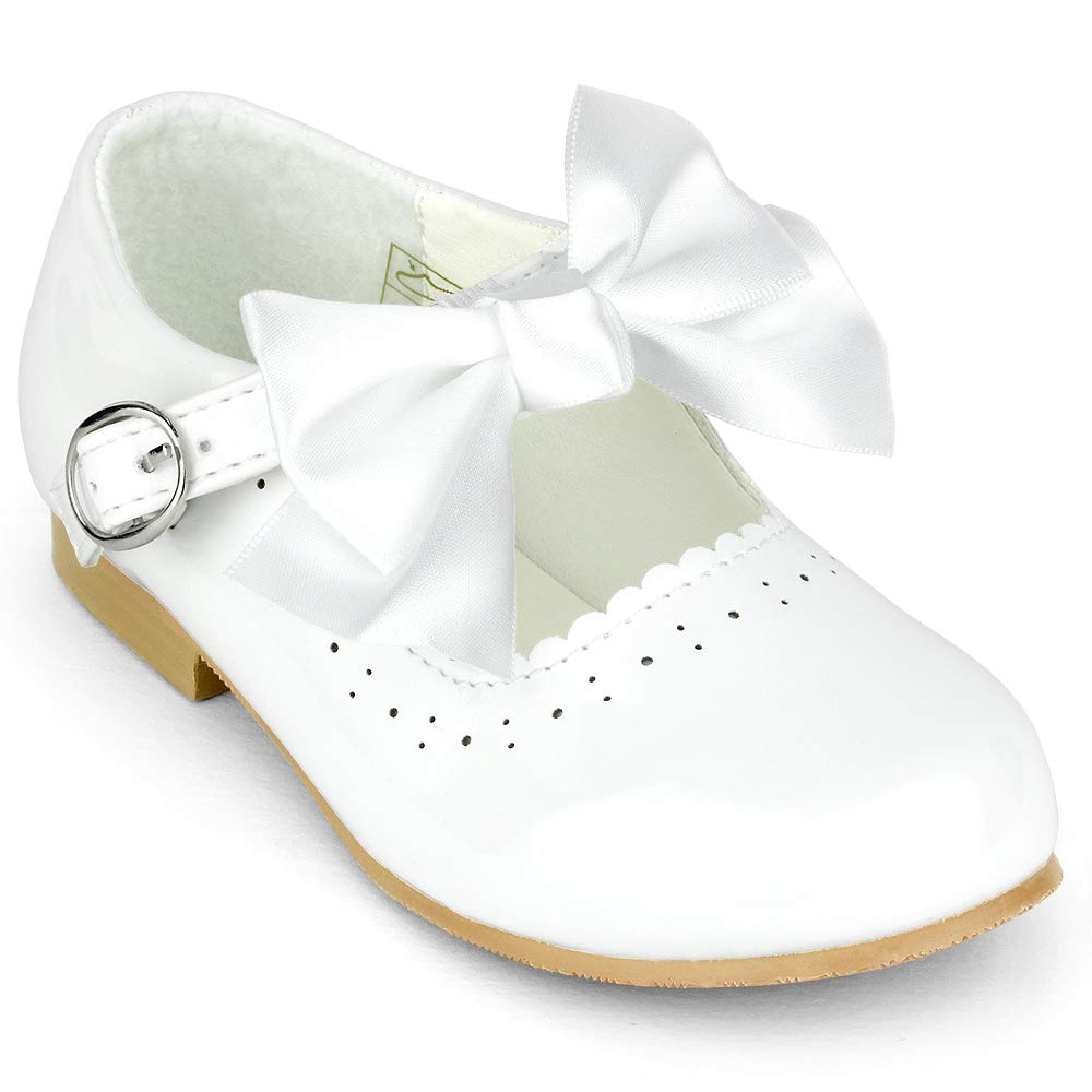 Spanish style Girls Shiny PU  Pram Shoes With Large Satin Bow