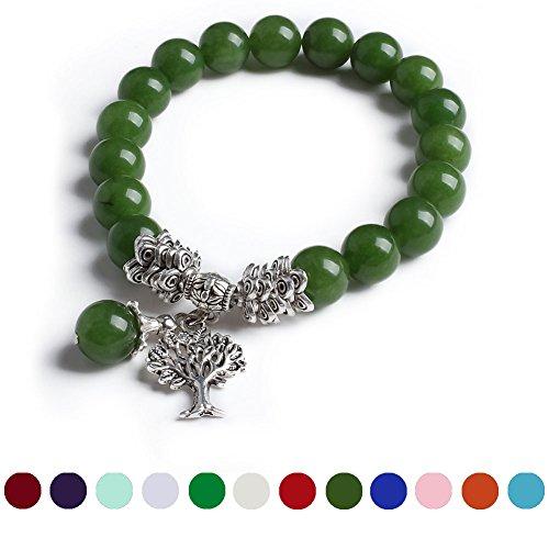 Cat Eye Jewels Life Tree Tibetan Silver Charm Pendant Women Cute August Gemstone Birthstone Bead Bangle Bracelet H08