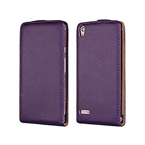 Flyshell Cowskin Flip Leather Pouch Case Cover For Huawei Ascend P6 Purple