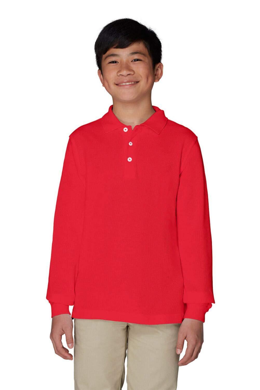 French Toast Boys' Long-Sleeve Pique Polo Shirt, Red, Medium/10-12 Husky
