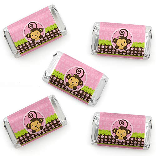Pink Monkey Girl - Mini Candy Bar Wrapper Stickers - Baby Shower or Birthday Party Small Favors - 40 Count (Monkey Themed Baby Shower Ideas For A Girl)