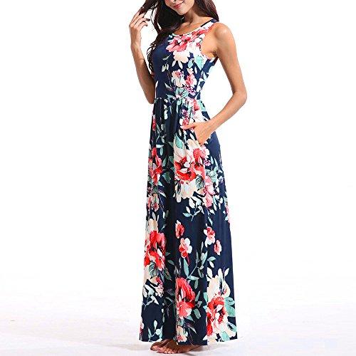 senza Dress Blue maniche O Casual Floral estate Beach Stampa Neck Donna Maxi SCqdC