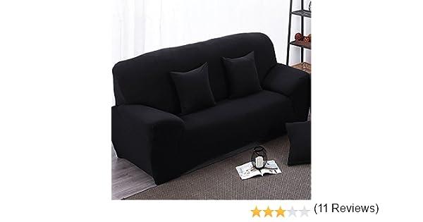 Funda de tela elástica para sofá de dos plazas, color negro