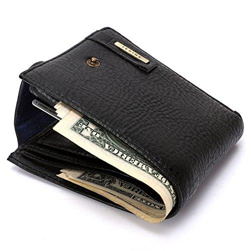 RS Men's Bifold Leather ID Credit Card Holder Wallet Zip Coin Pocket Purse Billfold Black (Holder Zip Coin)