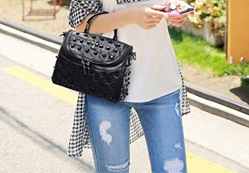 Borse Donna Messenger Moda Spalla A Davvero Rivetti Coreana Di Black Borsa Da 6gwq50