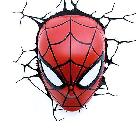 marvel comics 3d spider man mask wall light