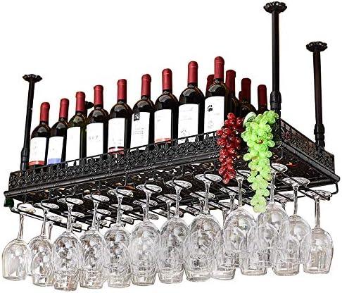 ワイングラスラック ワイングラスは、バーカウンターのフロントデスクのゴブレット逆さ吊りワインラックラック ステムウェアラック (色 : Black, Size : 120x35cm)