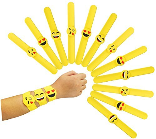 (Pawliss Emoji Slap Bracelets Silicone Wristband, Birthday Party Favors Supplies for Kids Girls, Emoticon Toys Prizes Gifts, Band Bracelet 12 Pack)