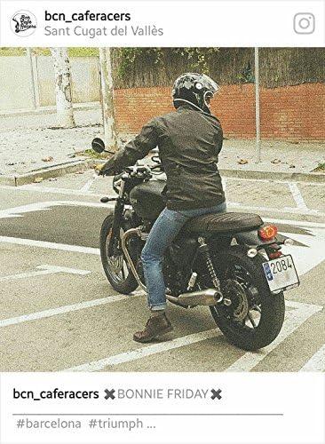 Marr/ón cl/ásico acabado al aceite y encerado piel de vacuno motocicleta moto Jacked blindados