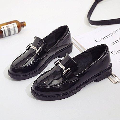 sœur base cuir avec Petite plate Angleterre une printemps douce pour femmes trimestre de femme et avec polyvalent et l'étudiant chaussures Black une en chaussure automne 5ZZrHyqK