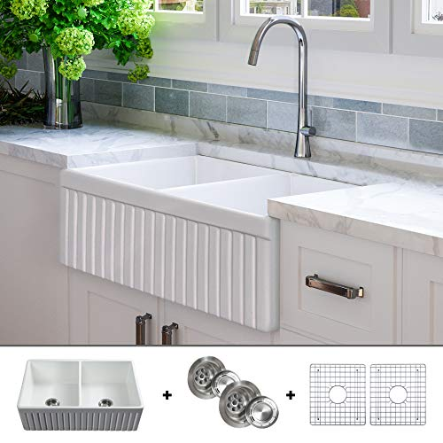 - Luxury 33 inch Pure Fireclay Modern Farmhouse Kitchen Sink in White, Double Bowl, Fluted Front, Includes Drains (2) and Grids (2), FSW1006 by Fossil Blu