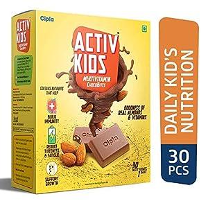 Cipla Activkids Multivitamin Chocobites For Kids' Nutrition- 240 g – (30 Counts)