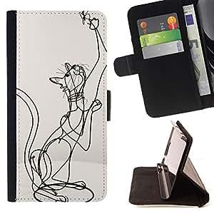 BullDog Case - FOR/Apple Iphone 6 / - / CAT ART SKETCH STRUCTURE STATUE BUTTERFLY /- Monedero de cuero de la PU Llevar cubierta de la caja con el ID Credit Card Slots Flip funda de cuer