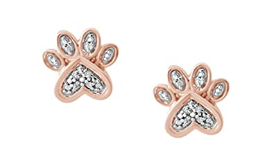 Sterling Silver Paw Print Earrings - Pink with Crystal Stones pWbyA