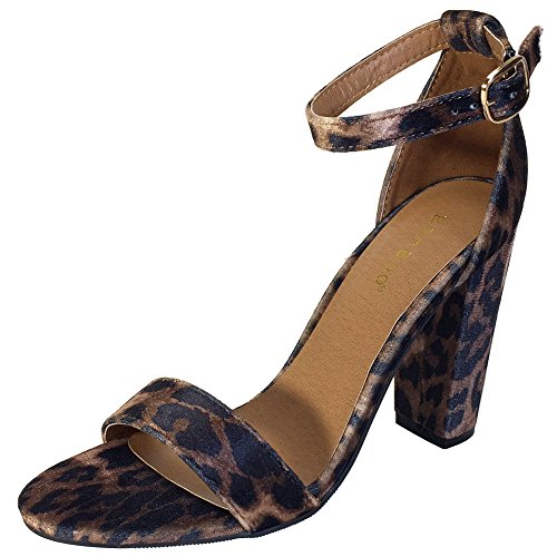 BAMBOO Women's Single Band Chunky Heel Sandal with Ankle Strap, Leopard Print Velour, 6.5 B ()