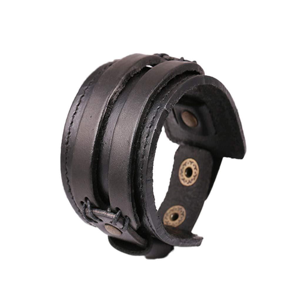 Genuine Leather Bracelet Punk Rock N Roll Braided Bracelet Adjustable Wide Wrist Belt Wrap Cuff Wristband Bangle Strap 7.2''-9'' Handmade Jewelry for Men Boy Kids Women Teens (Black)
