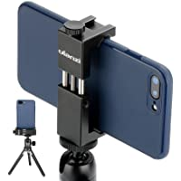 Metal Smartphone Tripod Mount with Cold Shoe Mount, Phone Tripod Holder Grip Rig Clip Compatible with Nexus Samsung iPhone X 8 7 7s 6 6s Plus etc